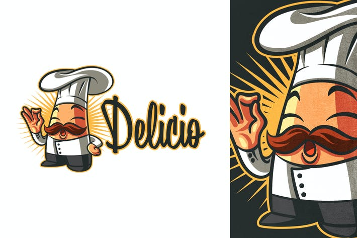 Thumbnail for Cartoon Cook or Chef Mascot Logo