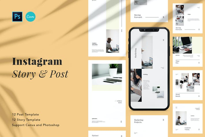 Thumbnail for Elegant Business Instagram Pack Canva & Photoshop