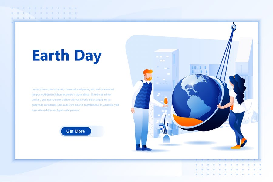 Earth Day Flat Landing Page Header