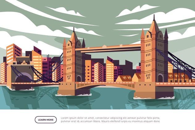 Tower Bridge London - Famous Landmark Illustration