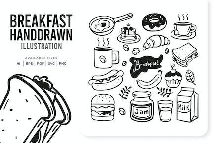 Frühstück handgezeichnet