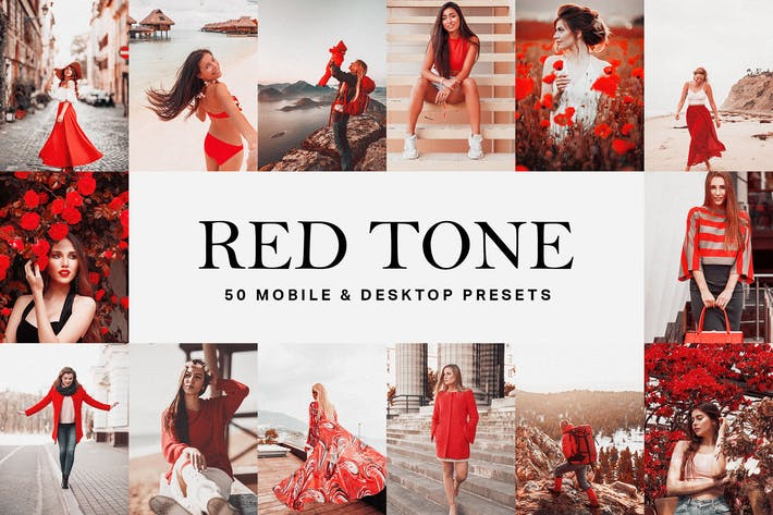 Thumbnail for 50 Red Tone Lightroom Presets and LUTs
