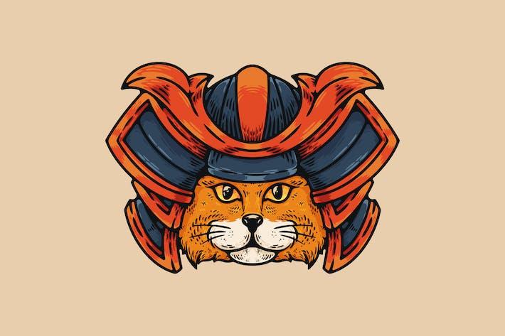 Katze mit Samurai Helm