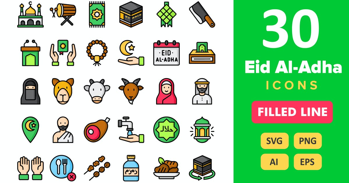 Download 30 Eid Al-Adha Icons - Filled Line by vectorizone