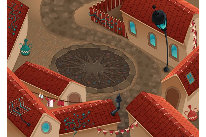Thumbnail for Top Scene of a Little Town with Roofs and Plaza.
