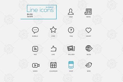Single Line Blogging Pictograms Set