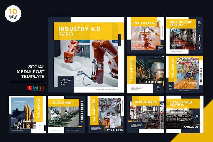 Thumbnail for Industry 4.0 Social Media Kit PSD & AI