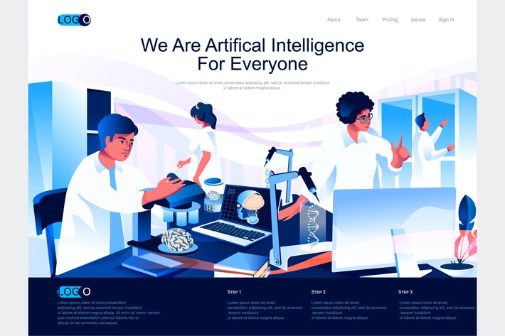 Thumbnail for AI Isometric Landing Page Template