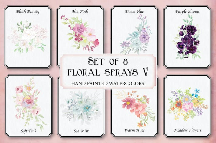 Thumbnail for Set of 8 Watercolor Sprays V
