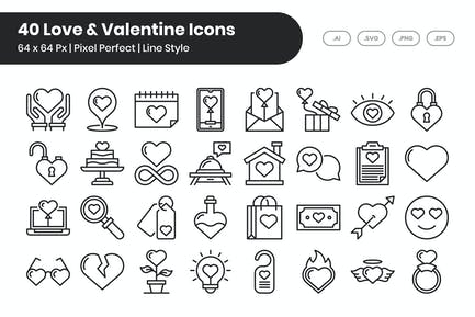 40 Love & Valentine Icons Set - Line