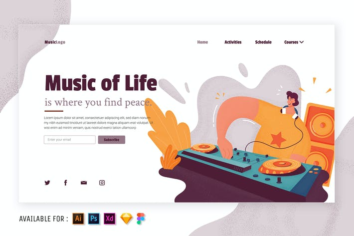 Music of Life - Flat Illustration