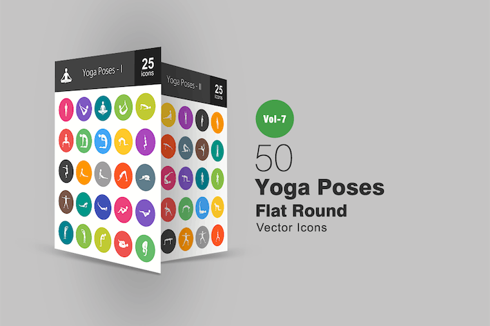 Thumbnail for 50 Yoga Poses Flat Round Icons