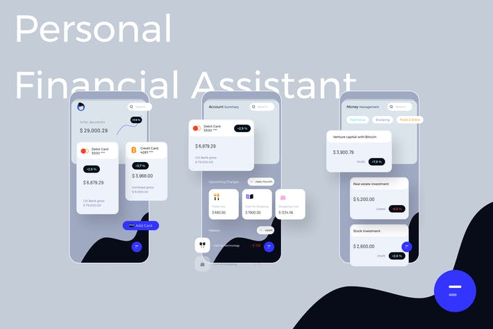 Thumbnail for Personal Financial Assistant Light Mobile Ui Kit