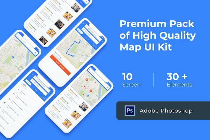 Thumbnail for Map & Navigation UI KIT for Photoshop