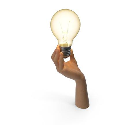 Hand hält Glühbirne eingeschaltet