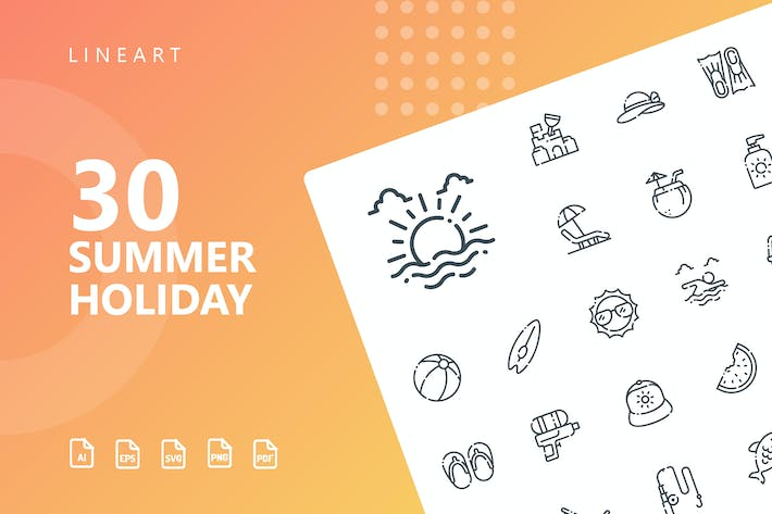 Thumbnail for Summer Holiday Line Icons