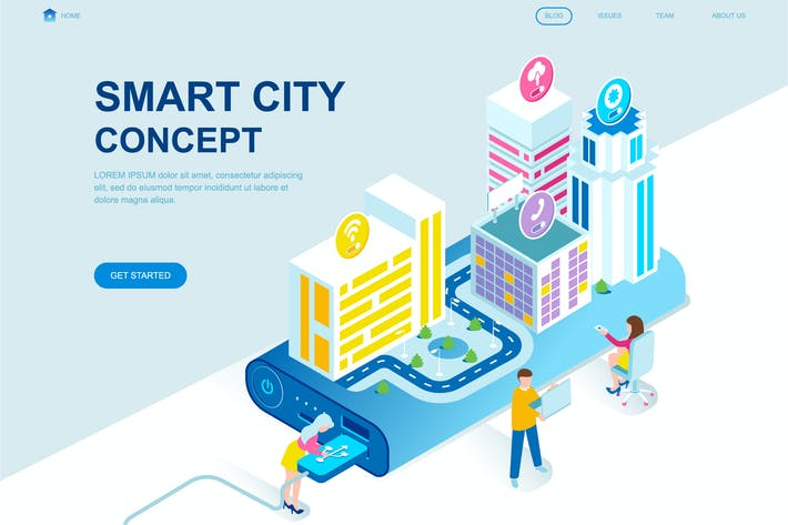 Thumbnail for Smart City Isometric Landing Page Template
