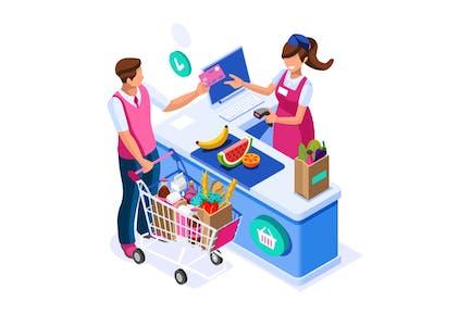 Supermarket Buyer Concept Grocery Cart