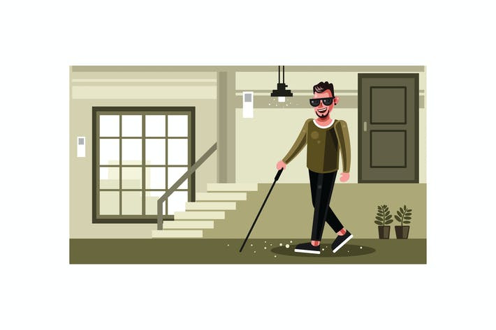 Cover Image For Blind Man walking with a Stick Graphics Illustrati
