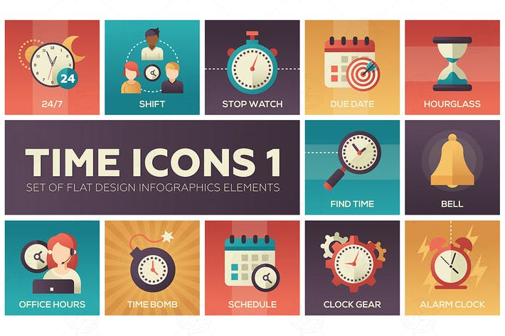 Thumbnail for Time icons - set of flat infographic elements