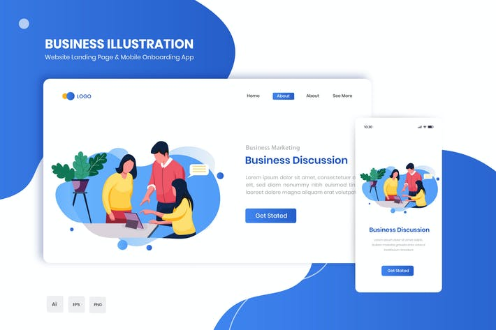 Thumbnail for Business Discussion Flat Landing & Onboarding App