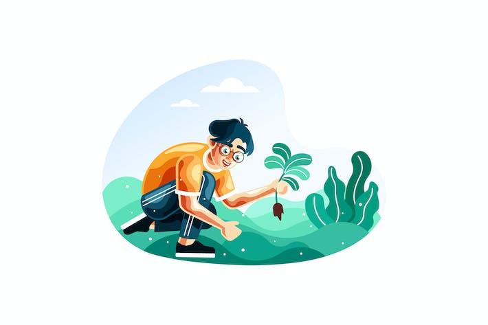 Mann Pflanzen für die Wiederaufforstung