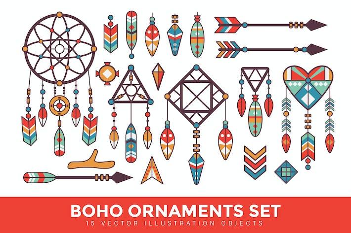 Thumbnail for Vintage Boho Ornaments Kit Ilustración Vector