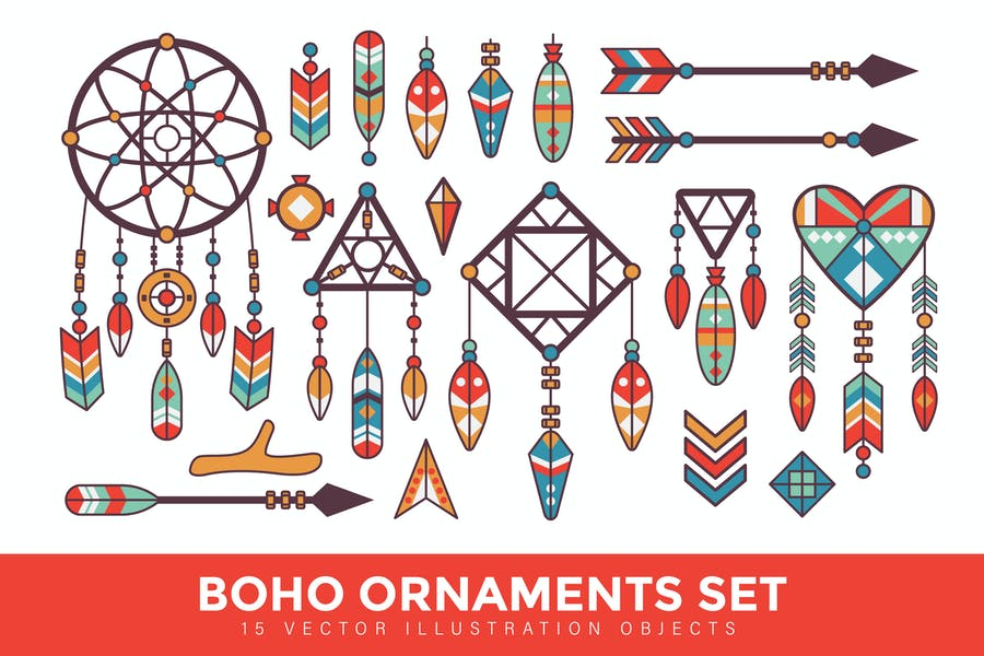 Vintage Boho Ornaments Set Vector Illustration