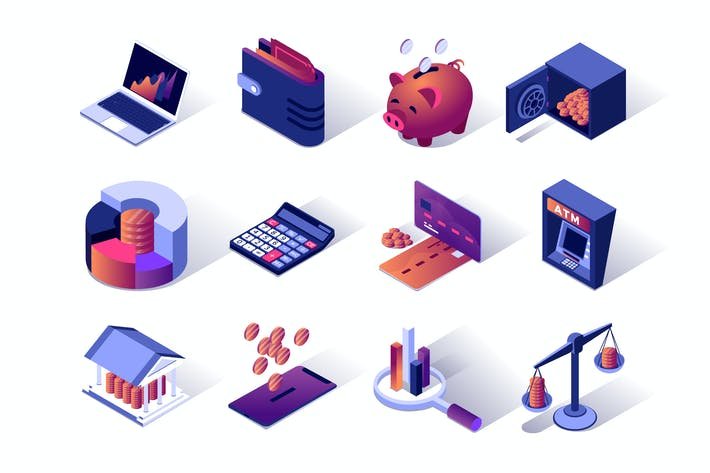 Thumbnail for Financial Management Isometric Icons Set