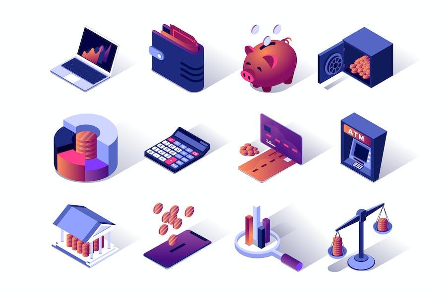 Financial Management Isometric Icons Set
