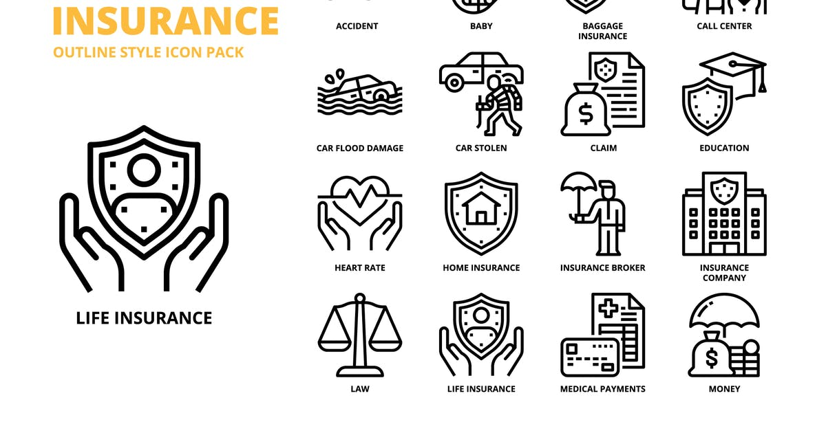 Download Insurance Outline Style Icon Set by monkik