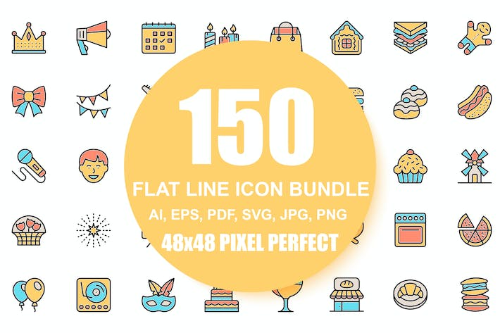 Thumbnail for Set of Flat Line Business Icons