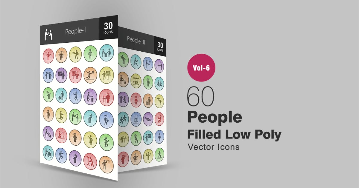 Download 60 People Filled Low Poly Icons by Unknow