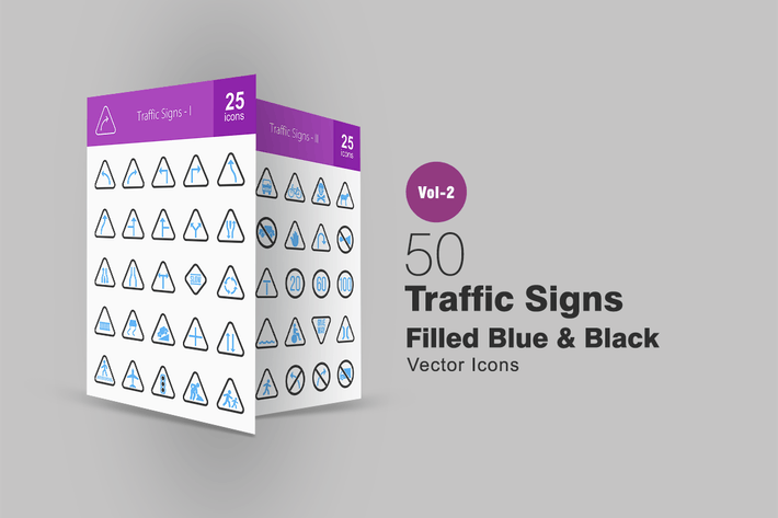 Thumbnail for 50 Traffic Signs Blue & Black Icons
