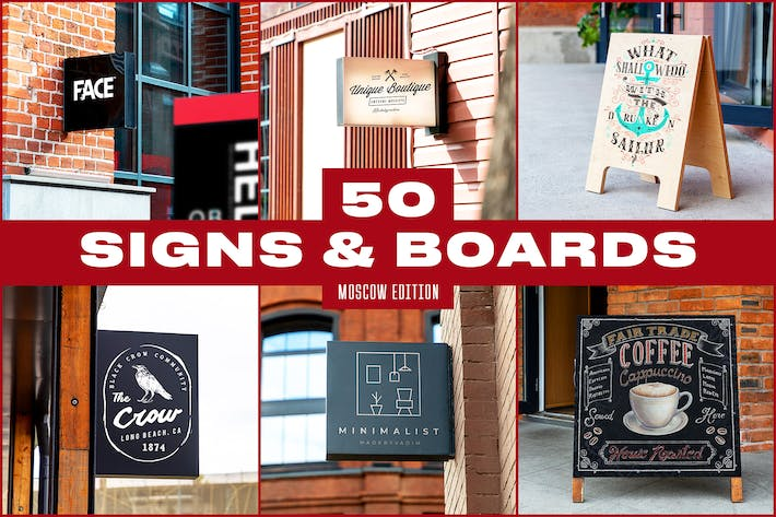 Thumbnail for 50 Signs & Boards Mockups - Moscow edition