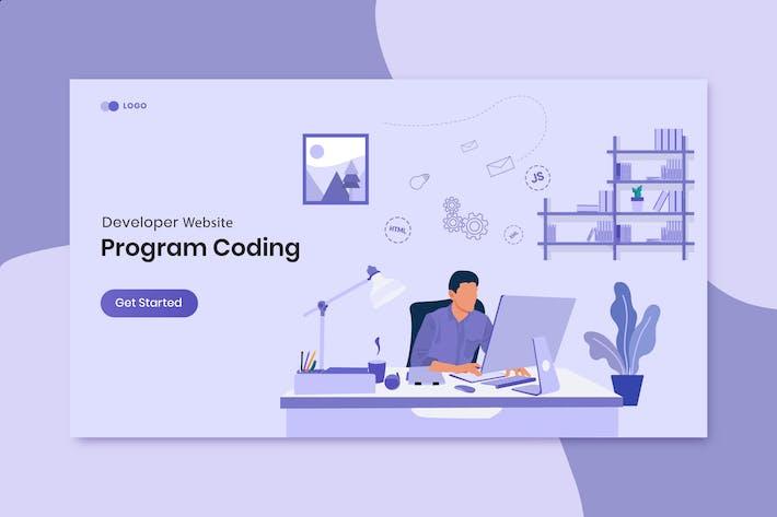 Thumbnail for Program coding landing page website illustration