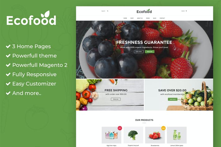 Thumbnail for Ecofood - Tienda orgánica Responsivo Magento 2 Tema