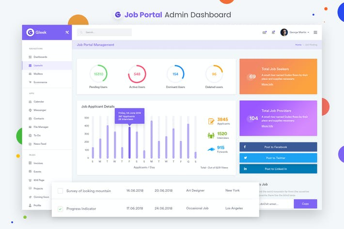 Thumbnail for Job Portal Admin Dashboard UI Kit