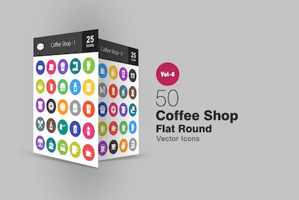 50 Coffee Shop Glyph Multicolor BG Icons