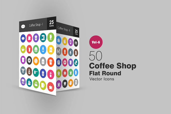 Thumbnail for 50 Coffee Shop Glyph Multicolor BG Icons
