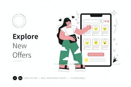 Entdecken Sie neue Angebote E-Commerce-Illustration