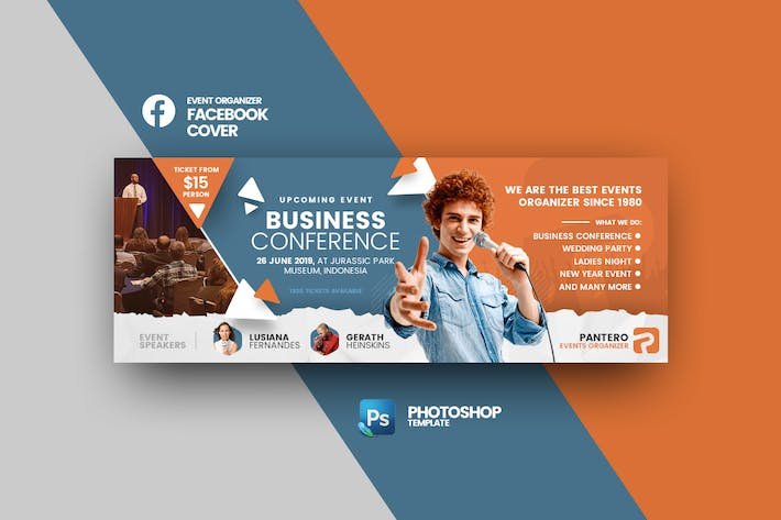 Thumbnail for Pantero Events Facebook Cover Photoshop Template