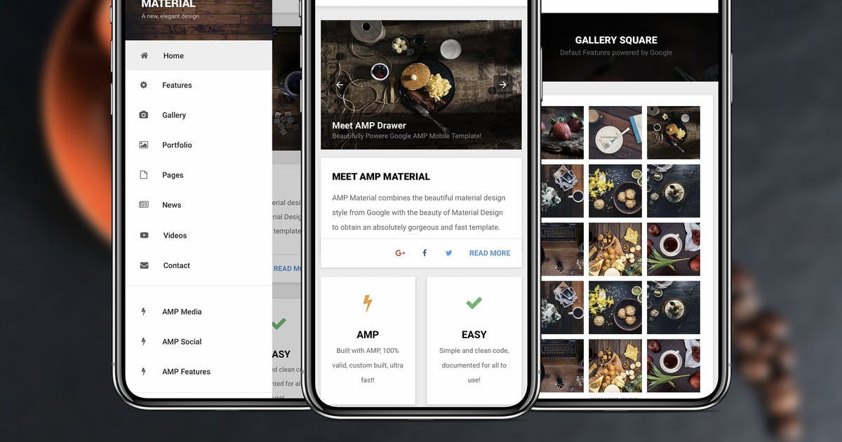 AMP Material Mobile | Google AMP Mobile Template by Enabled