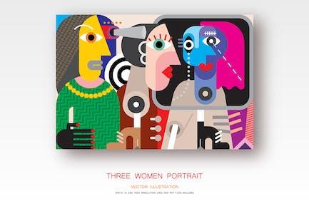 Три женщины портрет вектор иллюстрация