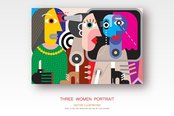 Thumbnail for Three women portrait vector illustration