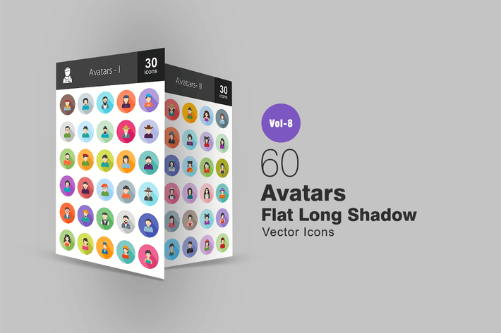 Thumbnail for 60 Avatars Flat Shadowed Icons