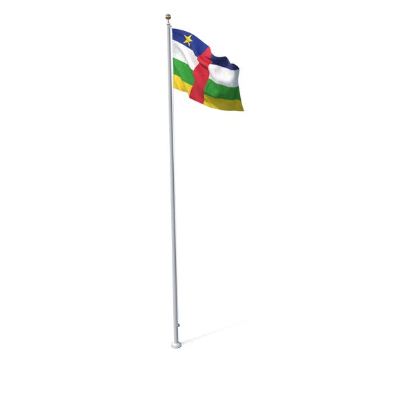 Flag On Pole Central African Republic