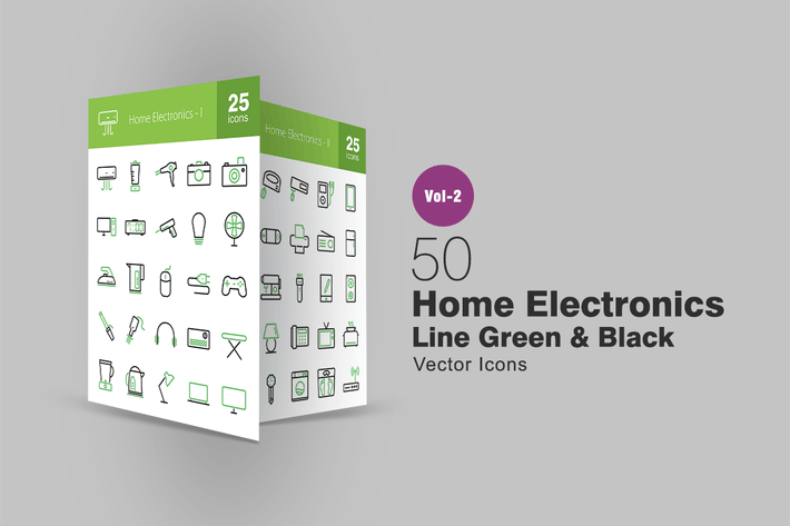 Thumbnail for 50 Home Electronics Line Green & Black Icons