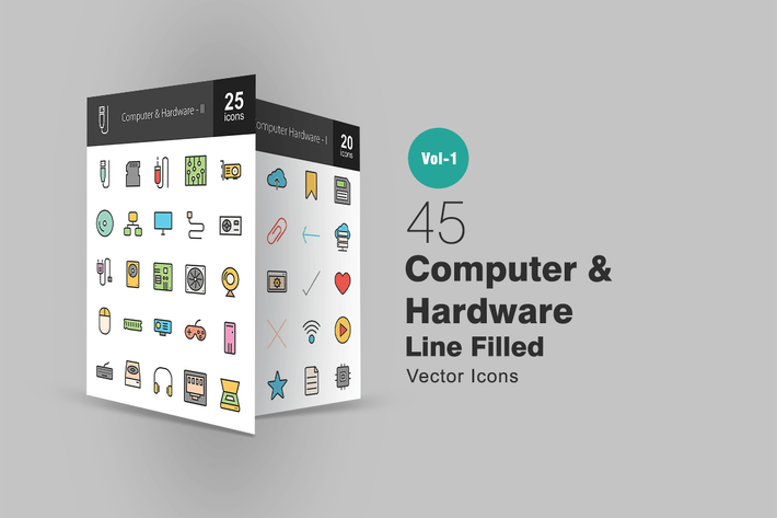 Thumbnail for 45 Computer Line Filled Icons