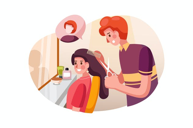 Hair stylist working on haircut for young woman